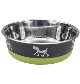 Maslow Non-Skid Pup Design Stainless Bowl