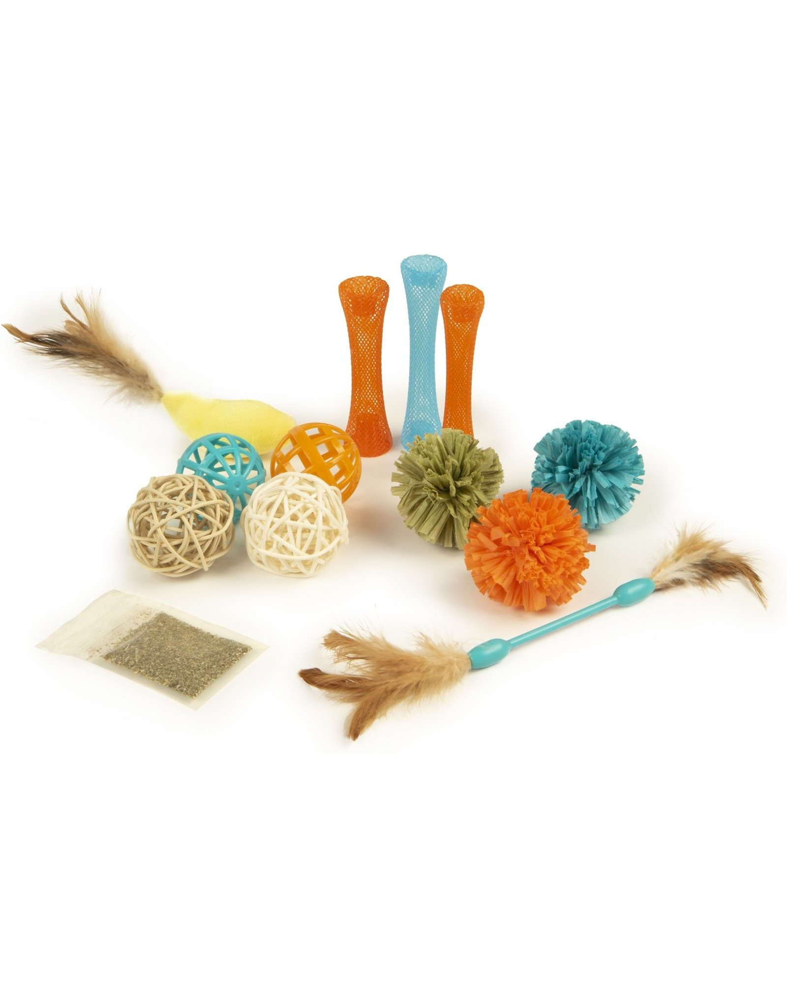 Petlinks Petlinks Play Pack Cat Toy Value Pack 13ct with Balls, Tubes, Feather Toys, Catnip