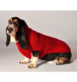Chilly Dog Cable Knit Red Sweater