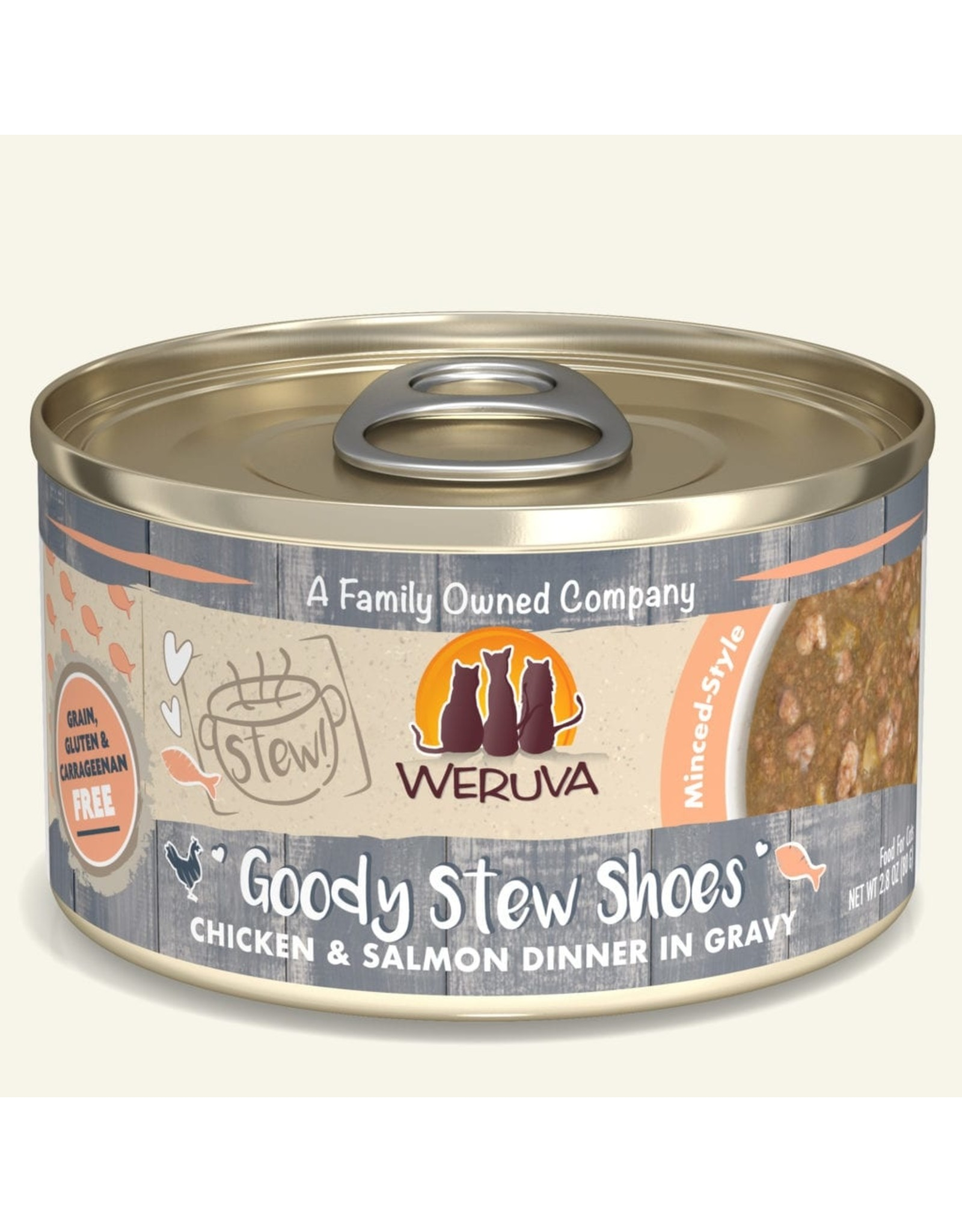 Weruva Weruva Wet Cat Food Goody Stew Shoes Chicken & Salmon Dinner in Gravy 2.8oz Can Grain Free