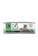 Dave's Pet Food Dave's Wet Cat Food Cat's Meow 95% Chicken & Chicken Liver Pate 5.5oz