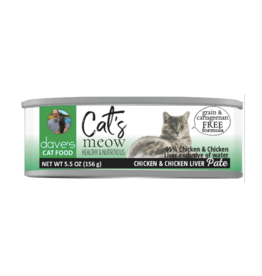 Dave's Pet Food Dave's Can Cat's Meow 95% Chicken & Liver 5.5oz