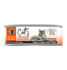 Dave's Pet Food Dave's Can Cat's Meow 95% Turkey Liver 5.5oz