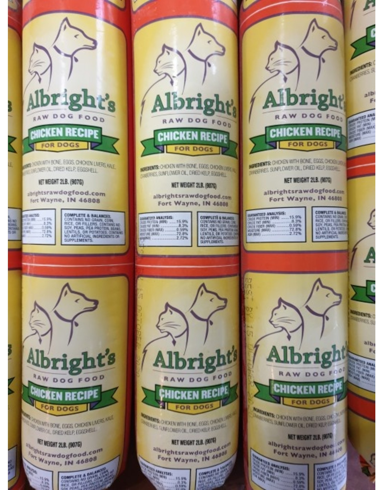 Albrights Albright's Frozen Raw Cat and Dog Food Chicken Recipe Chub 2lb