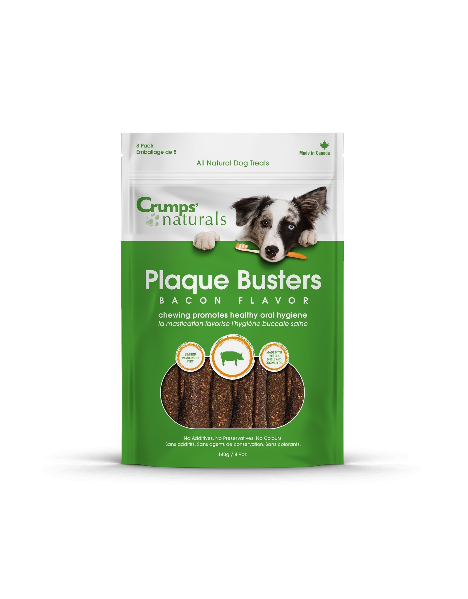 Crumps Naturals Crumps' Naturals Plaque Busters Bacon 4.5in 3.2oz Limited Ingredient Dog Dental Chews