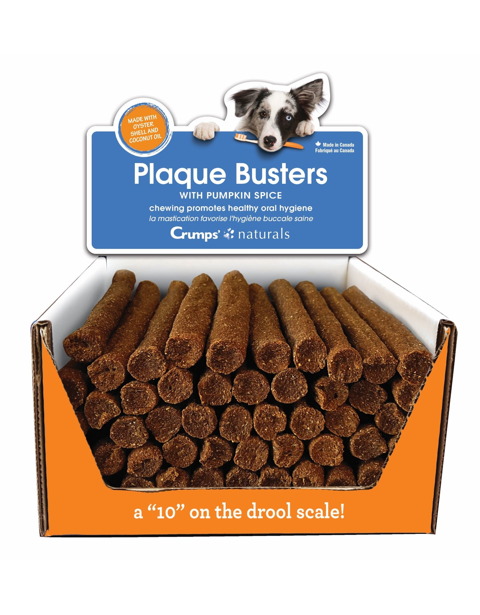 Crumps Naturals Plaque Busters Pumpkin Spice 7in Dental Treats by the Each