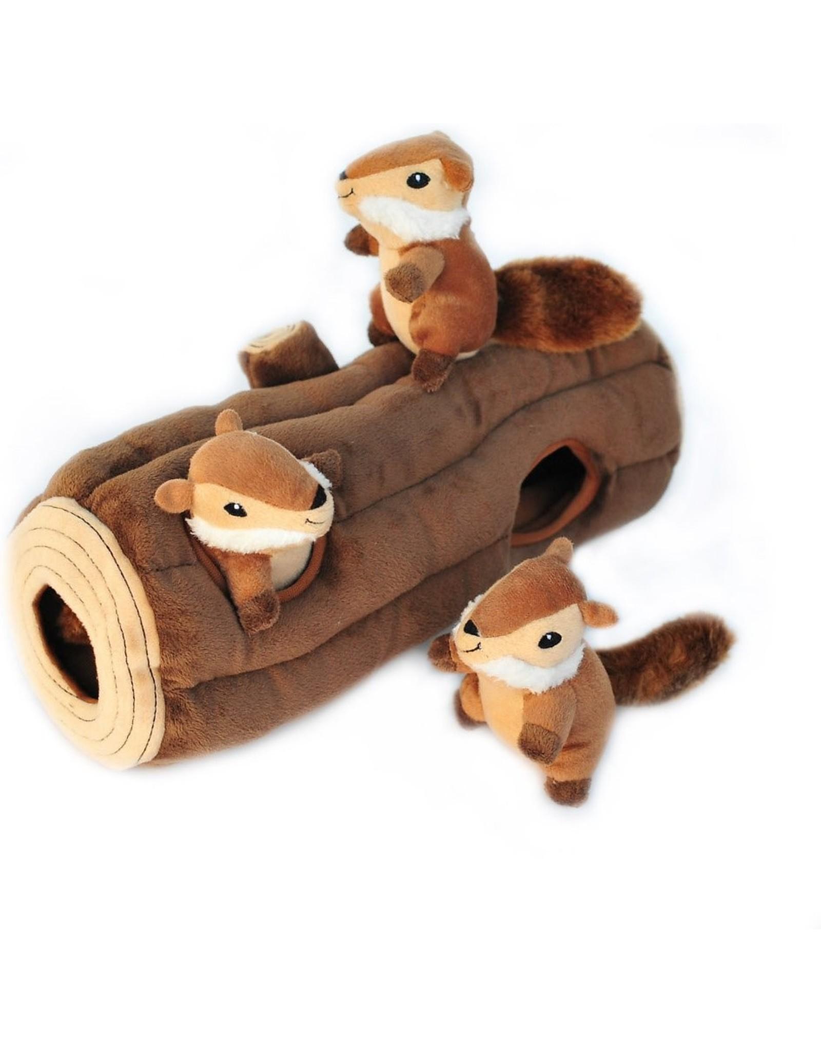 Zippy Paws Burrows Chipmunks in Log Dog Toy
