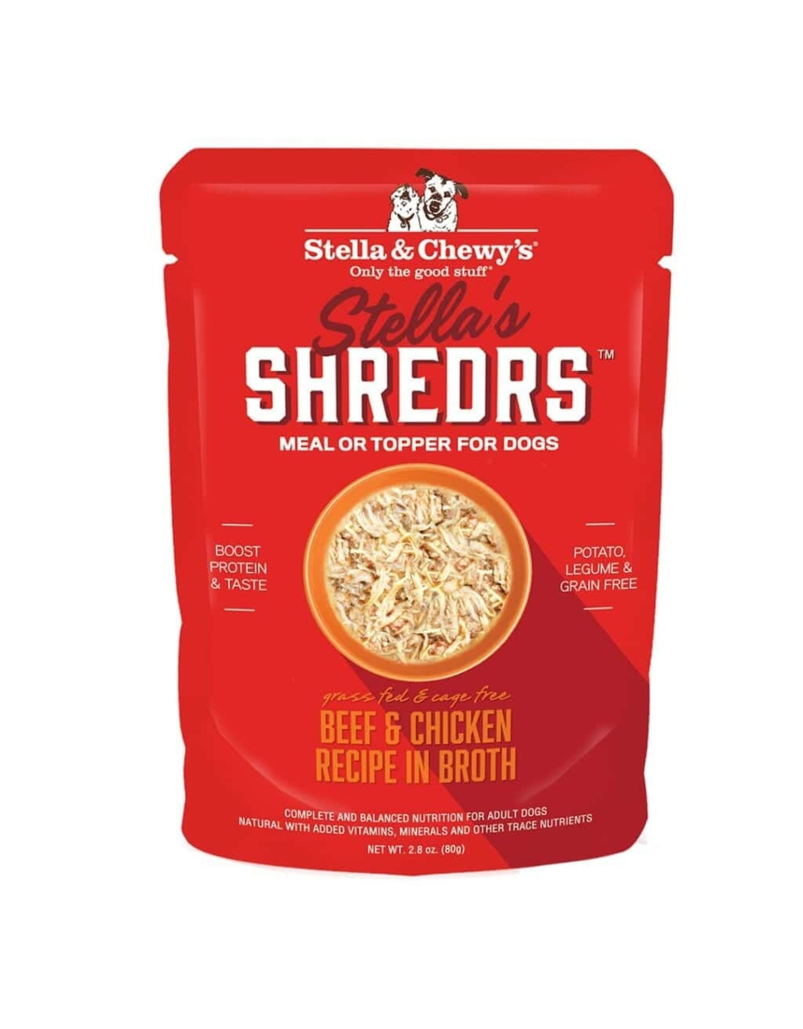 Stella and Chewys Stella & Chewy's Stella's Shredrs Meal or Topper for Dogs Grass Fed and Cage Free Beef and Chicken Recipe in Broth 2.8oz Pouch