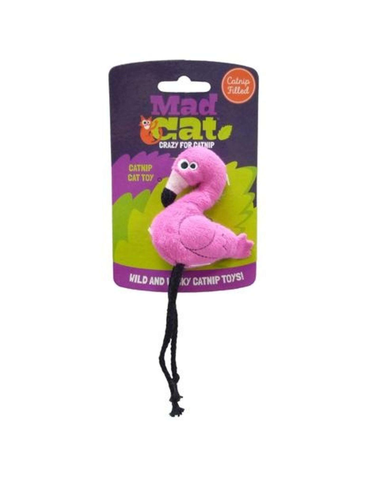 Mad Cat by Cosmic Mad Cat Flingin' Flamingo Plush Catnip and Silvervine Cat Toy