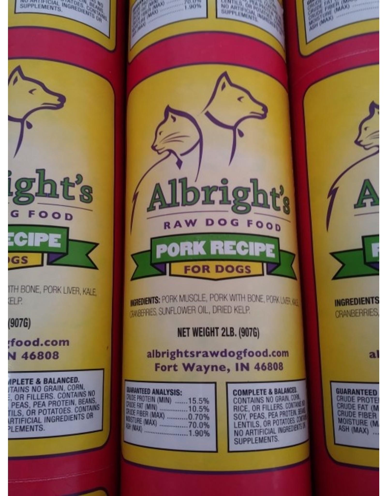 Albrights Albright's Frozen Raw Dog Food Pork Recipe Chub 2lb