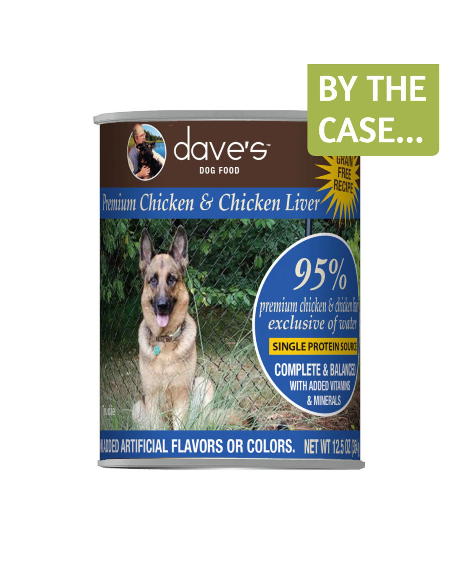 Daves Pet Food Dave's Wet Dog Food 95% Premium Chicken & Chicken Liver 12.5oz Can Grain Free