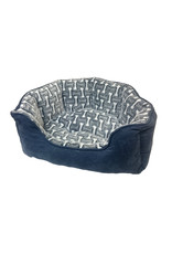 """Ethical Pet / Spot Ethical Pet Sleep Zone Scallop Style Bed 24"""" in Steel Blue Bones Print"""