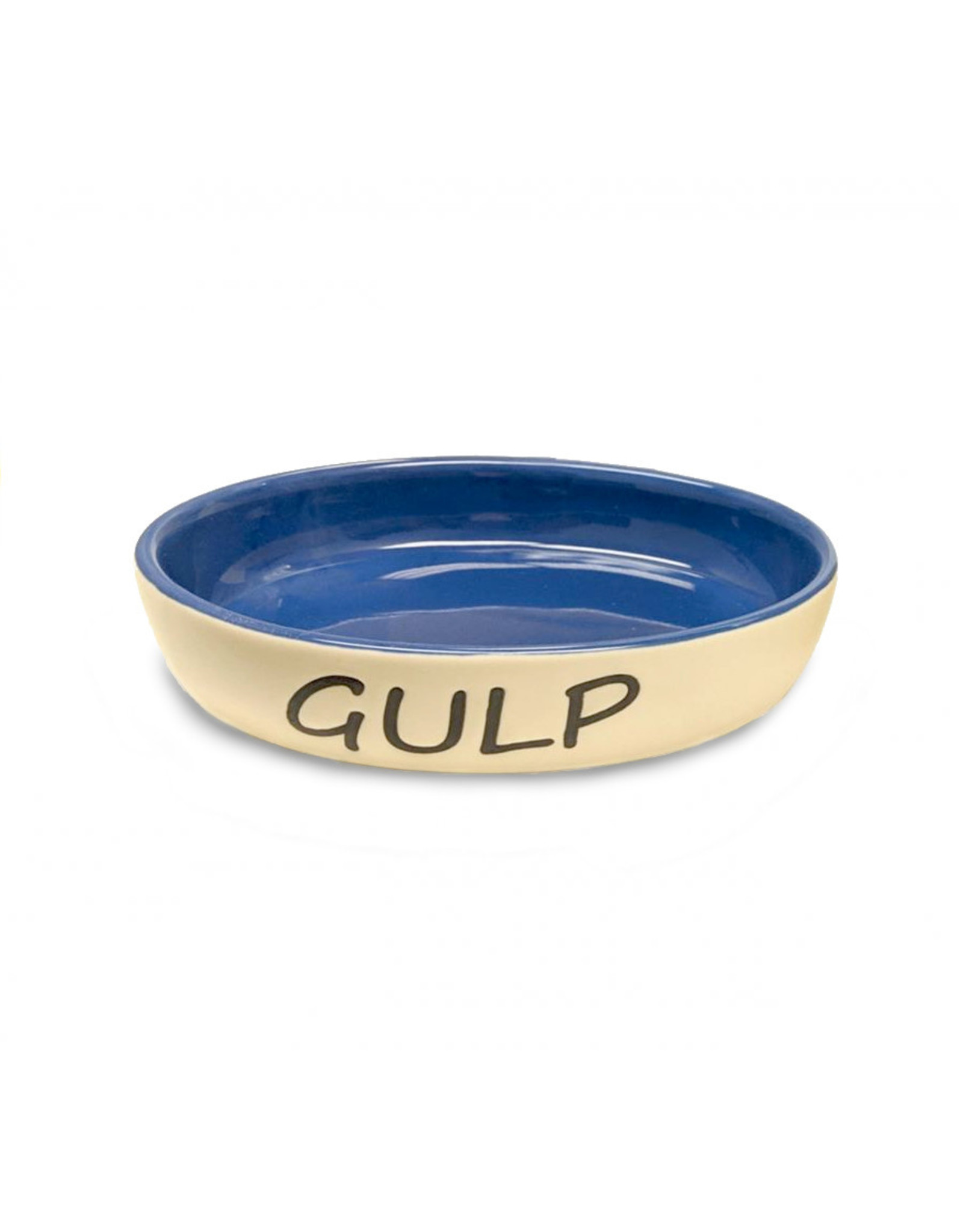 """Ethical Pet / Spot Spot Gulp Stoneware Oval Cat Dish 6"""" in Blue and Beige"""