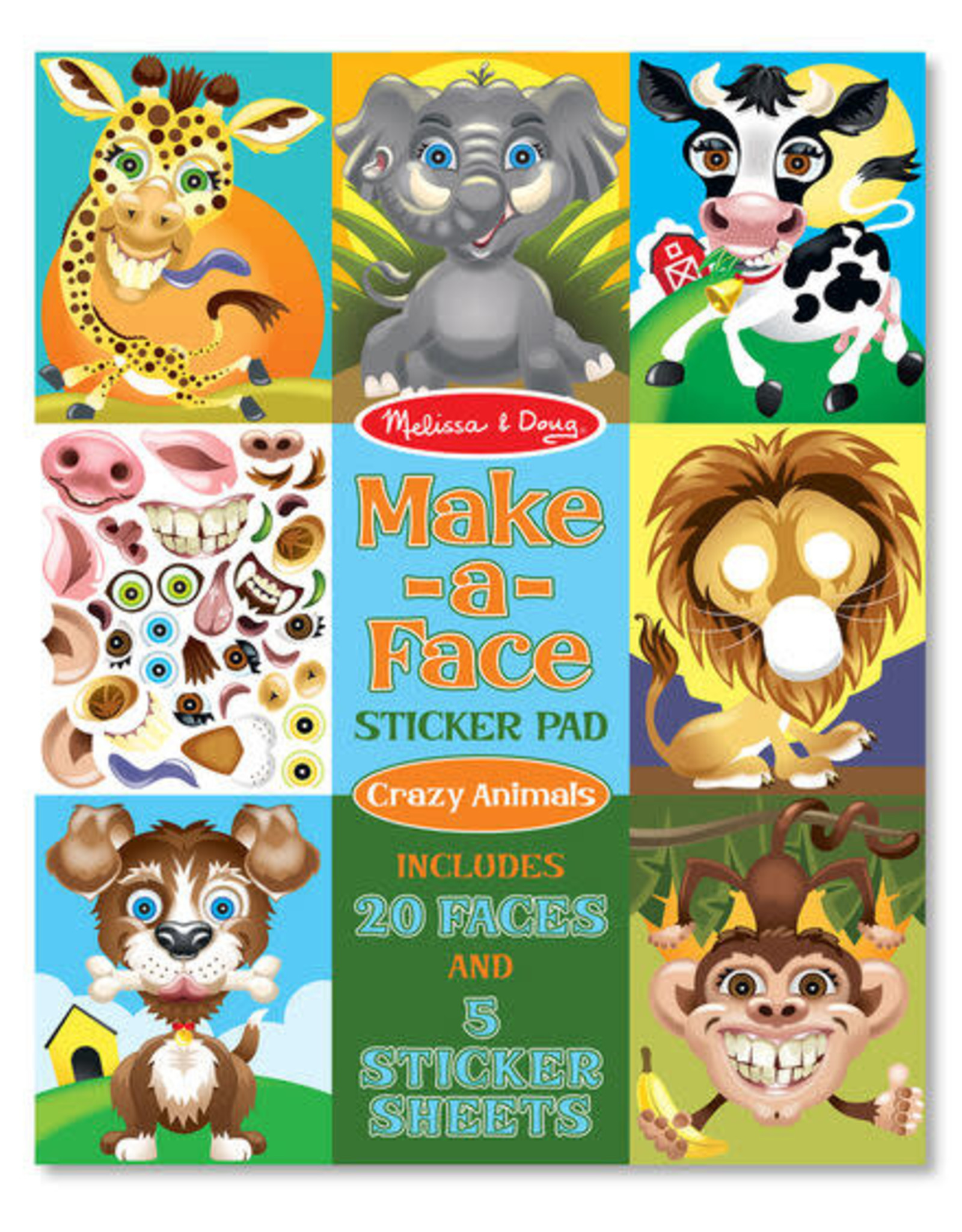 Melissa & Doug Make-a-Face Sticker Pad - Crazy Animals