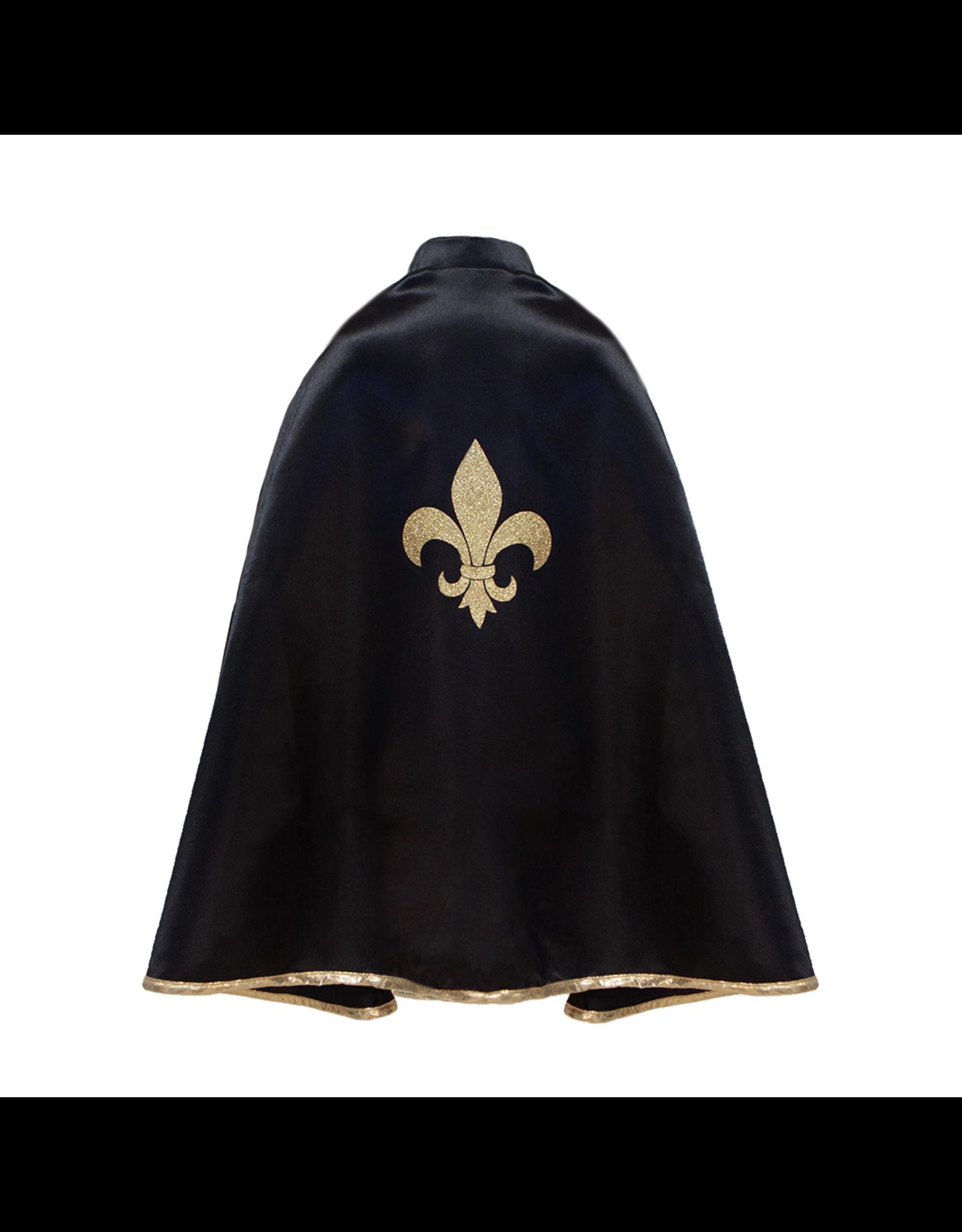 Great Pretenders Fleur de Lis Cape, Black, Size 3-4