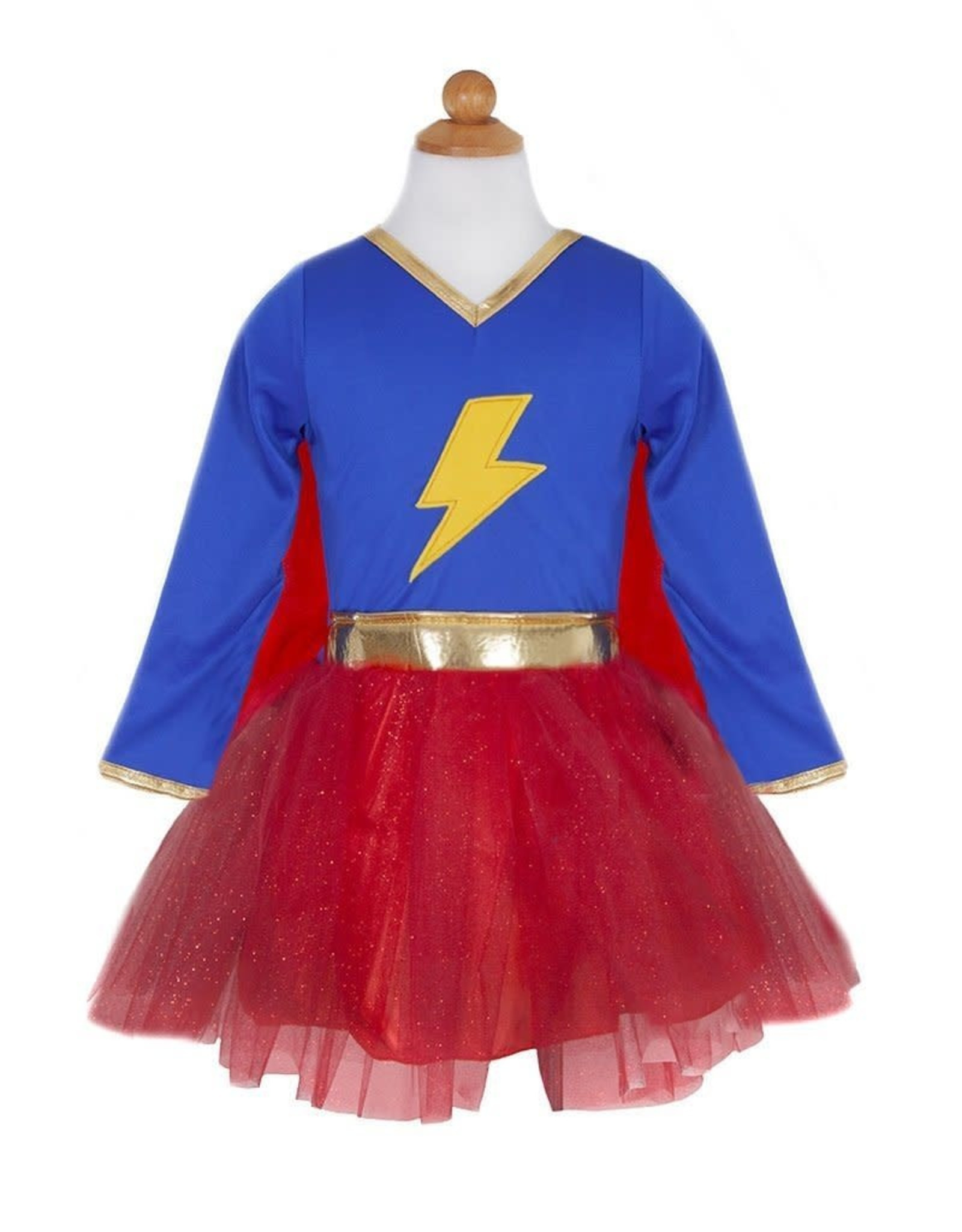 Great Pretenders Lightning Quick Adventure Chick Dress With Cape, Size 5-6