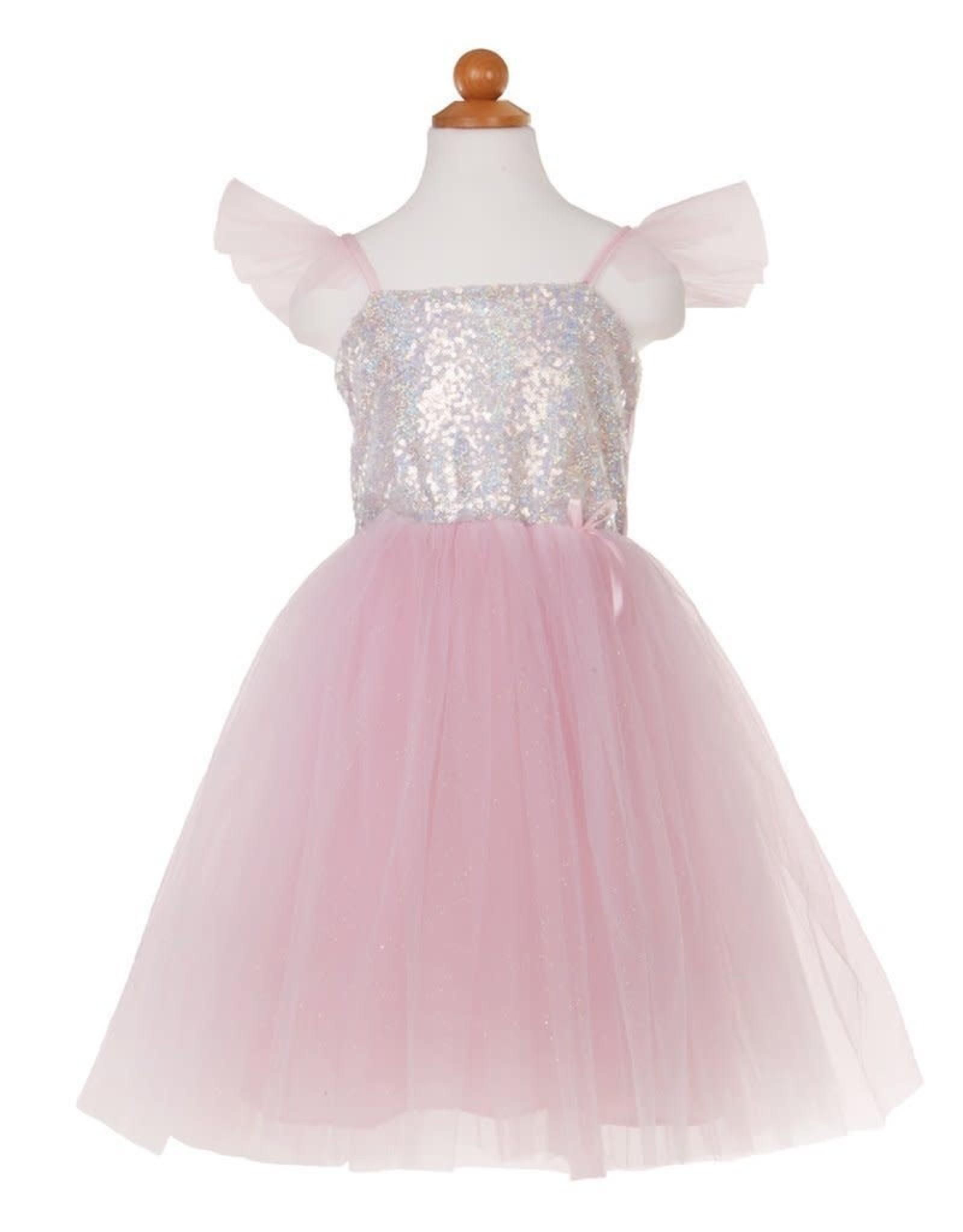 Great Pretenders Sequins Princess Dress, Silver, Size 5-6