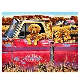 Paint Works Golden Retrievers in Pickup