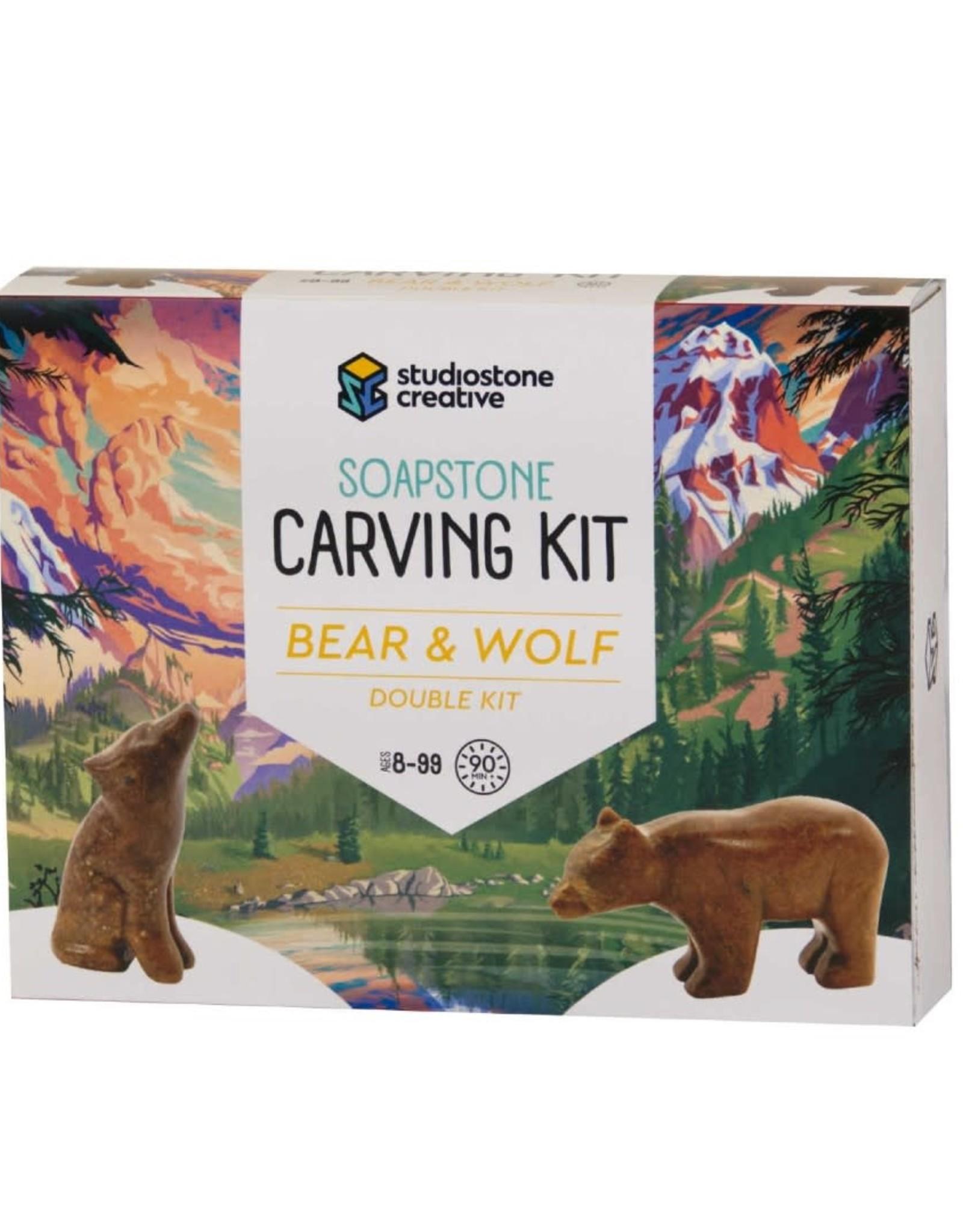 Studiostone Creative Soap stone carving kit - Bear & Wolf