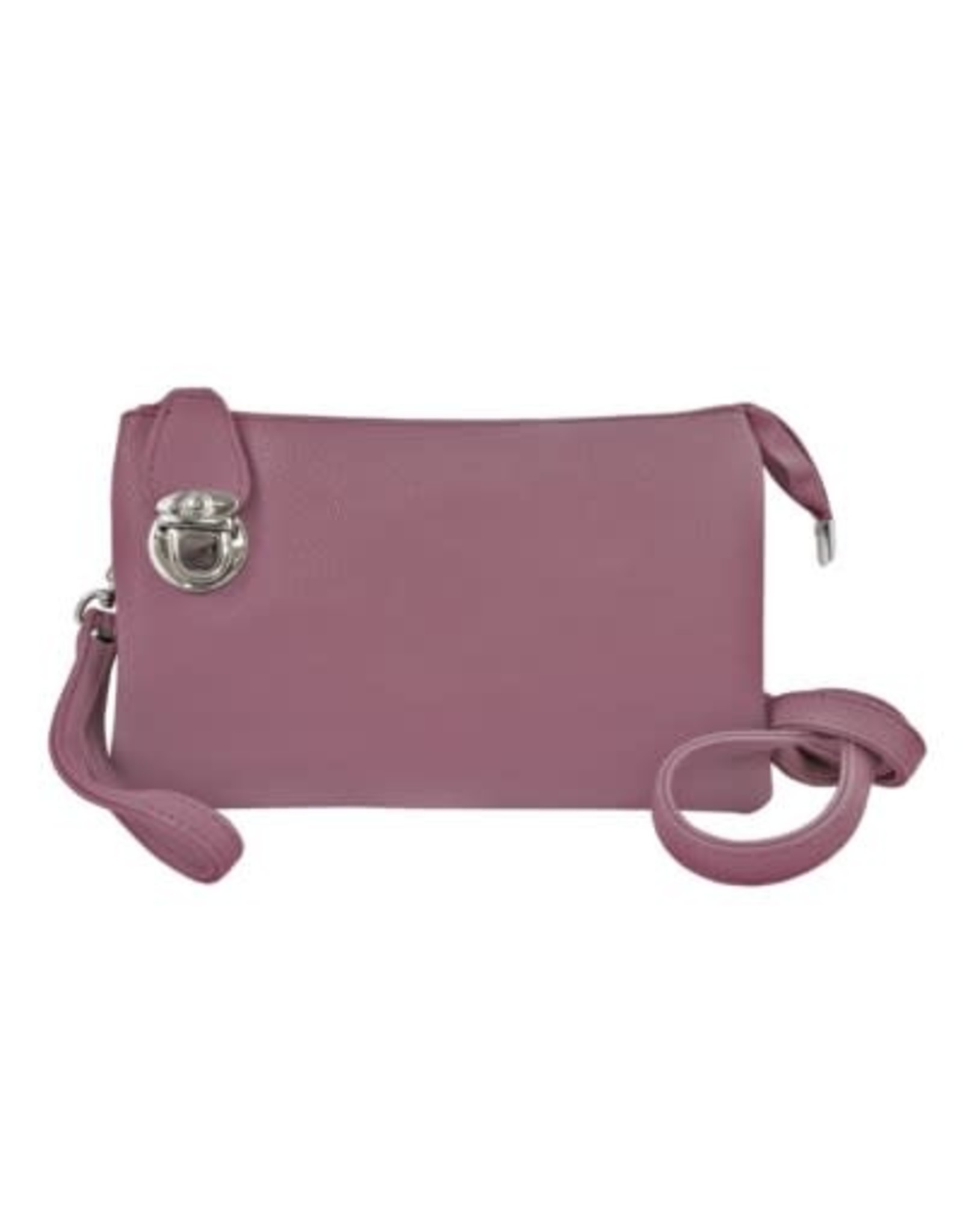 Buckle Clutch with Crossbody Strap and Wristlet