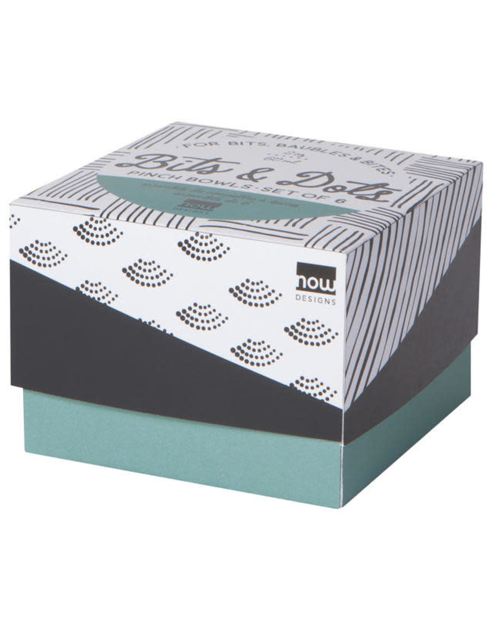 Bits & Dots Pinch Bowl Set of 6 - Black/White