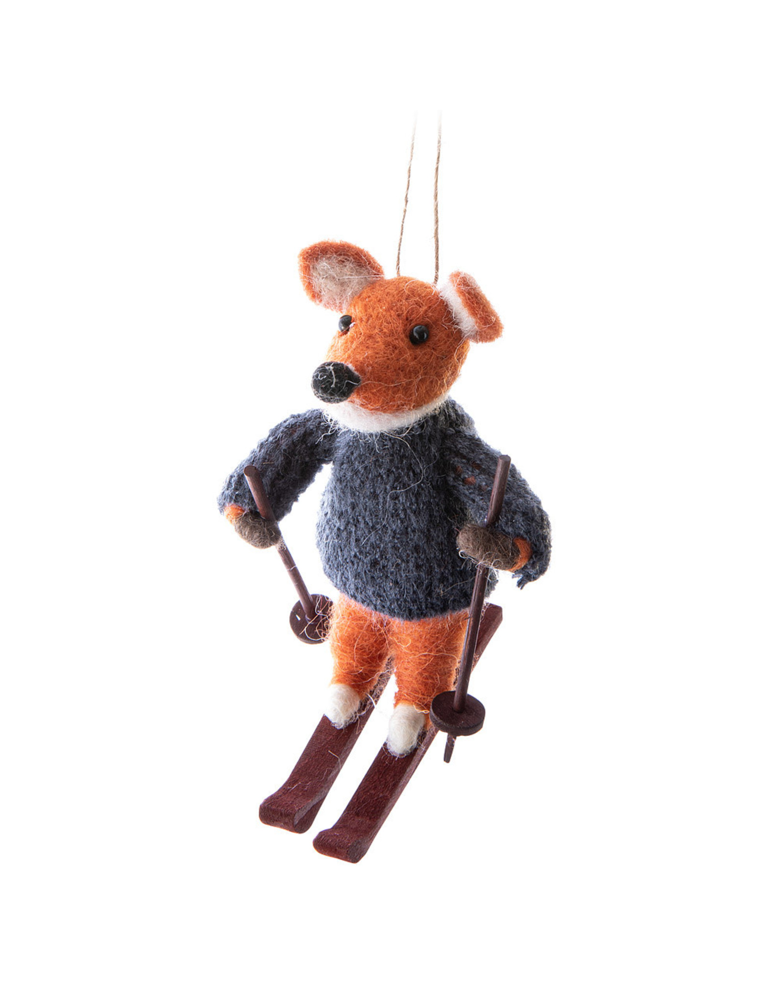 Fox on Skis Ornament
