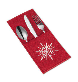 Red Embroidered Snowflake Flatware Pocket