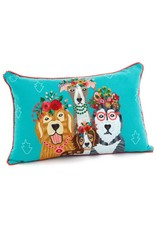 Embroidered Dogs Cushion 16x24