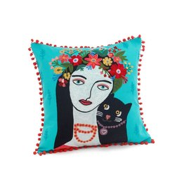 Embroidered Frida & Cat Cushion