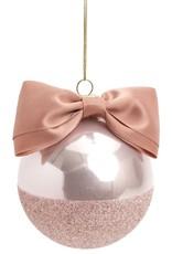 Pink Glass Ornament w Ribbon