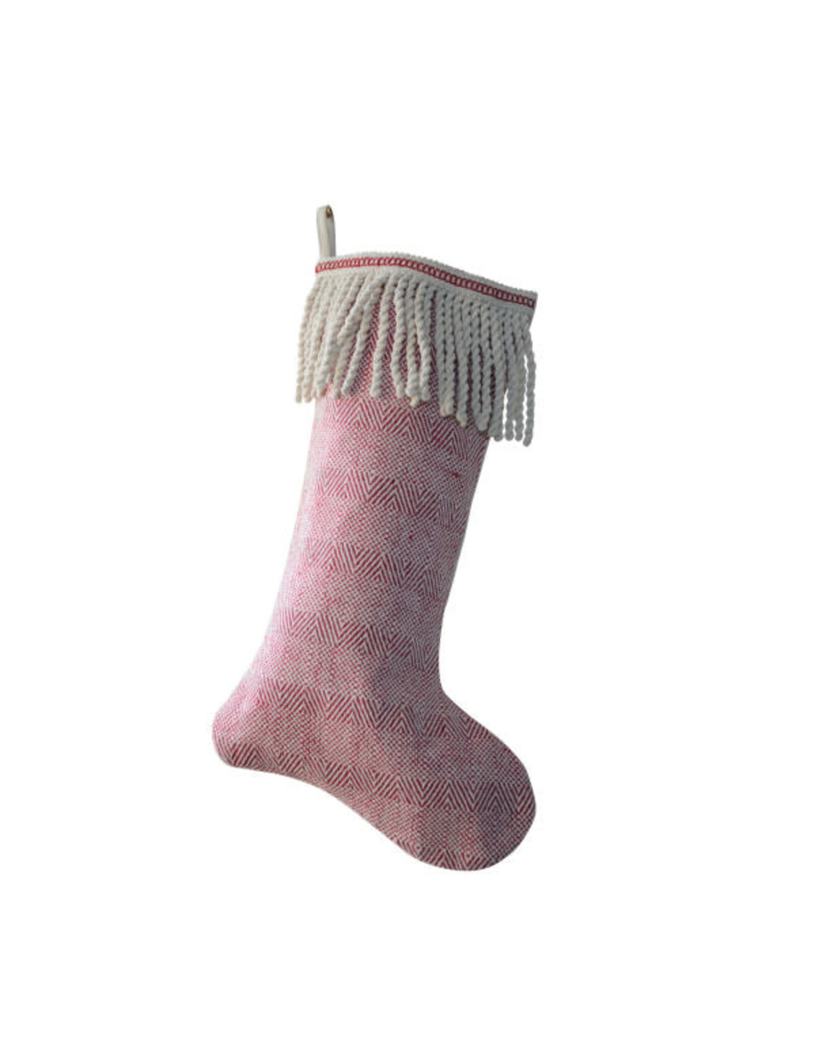 "20"" Woven Cotton Stocking w Bullion Fringe Cuff"