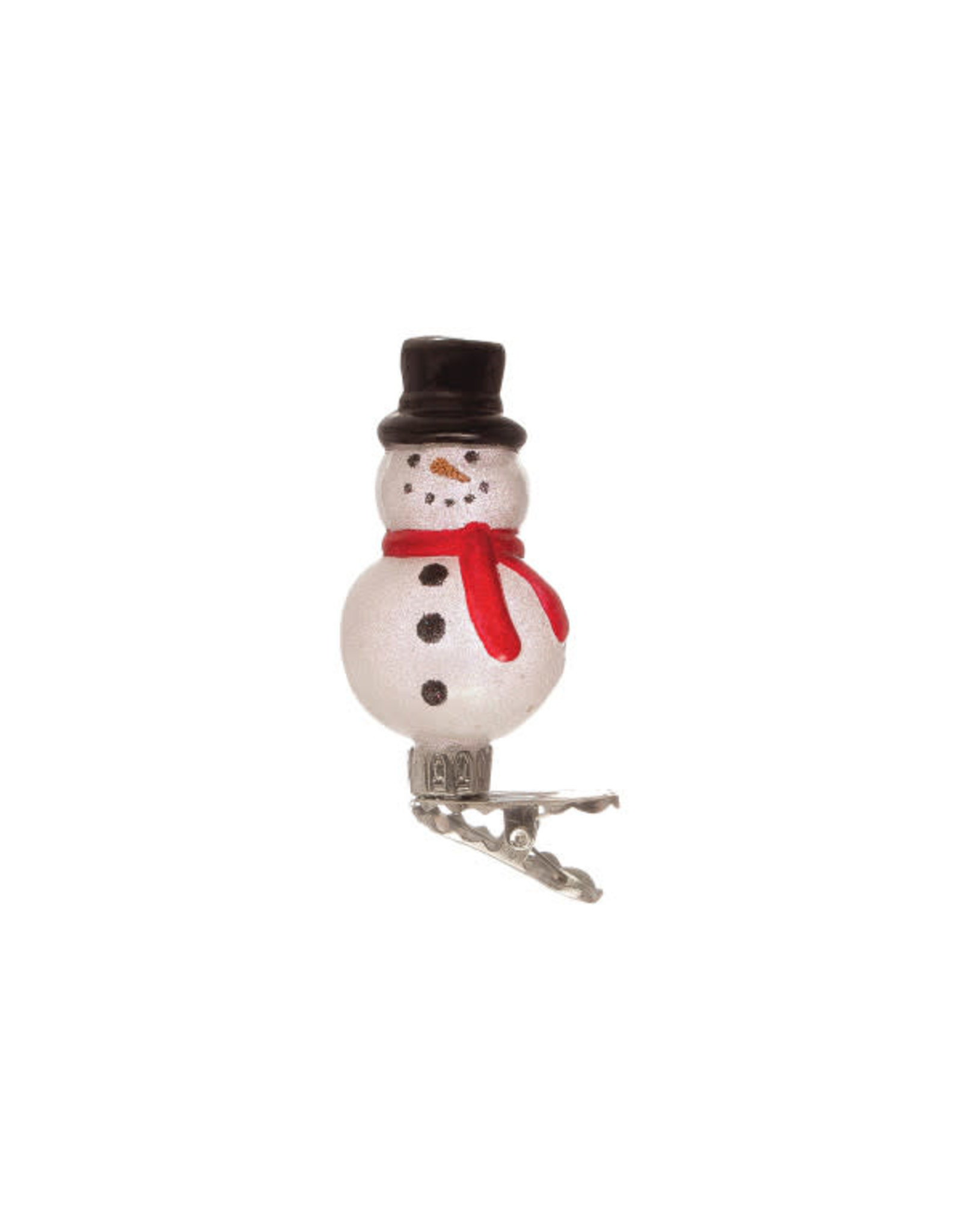 Clip-On Glass Snowman Ornament