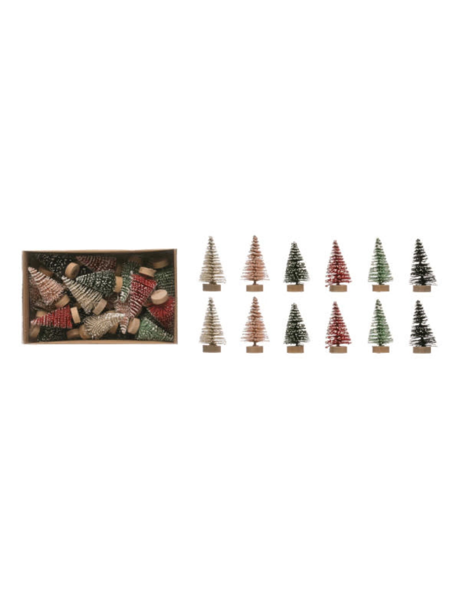 "Mini 2"" Bottle Brush Trees on Wood Bases - S/24"