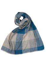Large Check Scarf - Blue/Grey