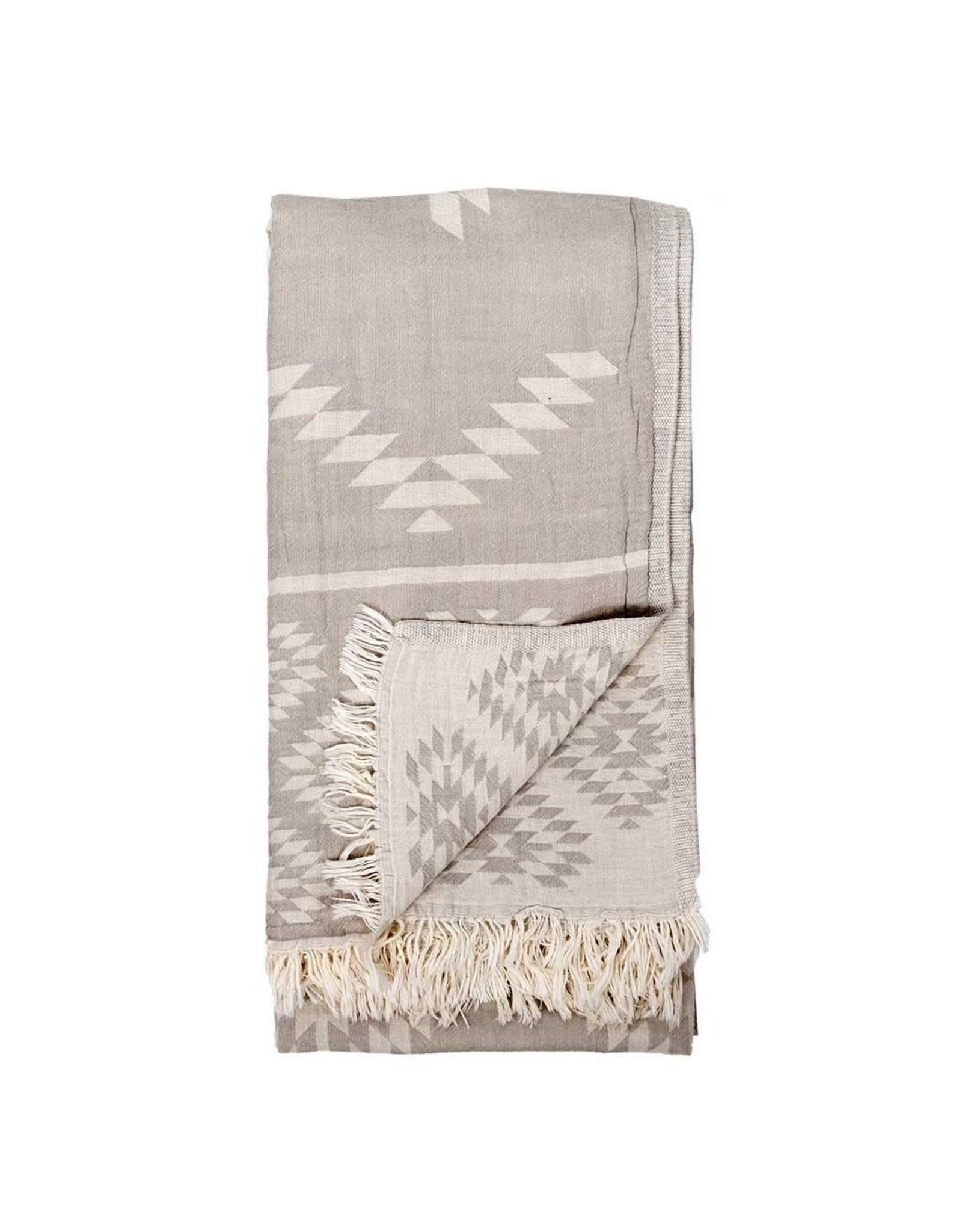 Turkish Towel  - Geometric Pebble Grey