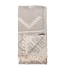 Turkish Towel  - Geometric Pebble Grey