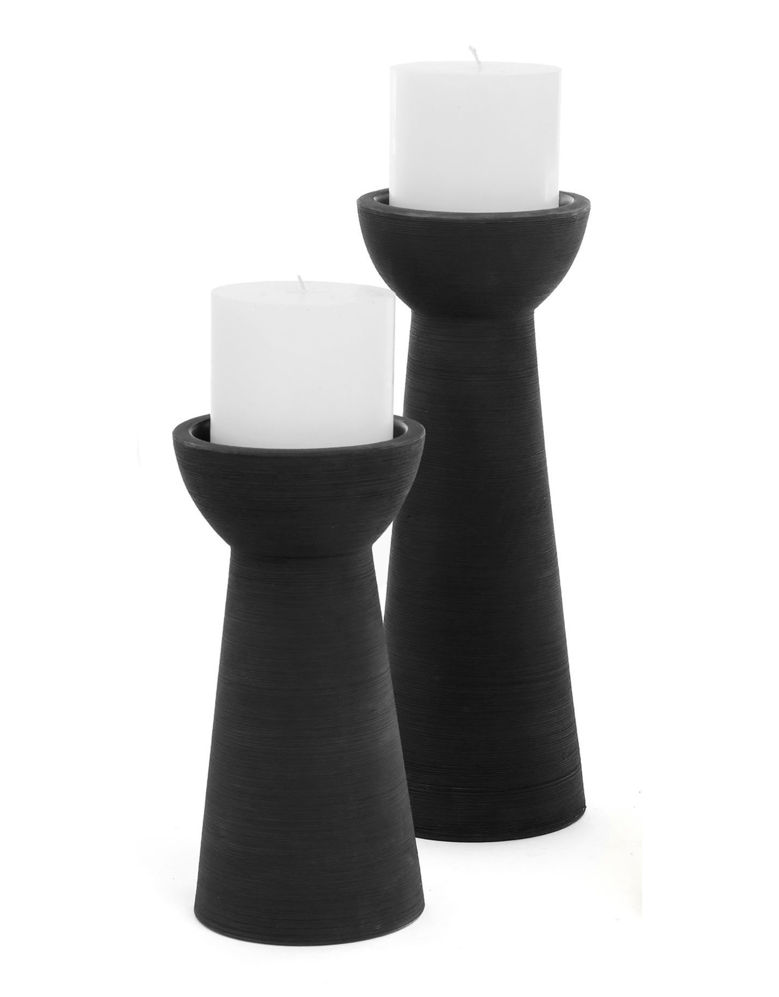 Juna Ceramic Candle Holder Matte Black