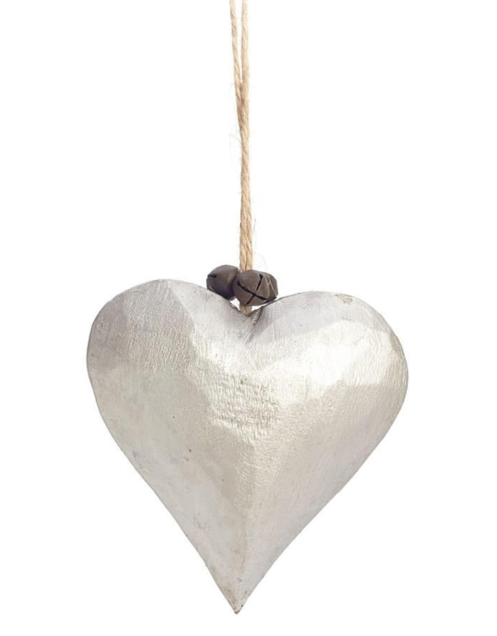Silver Wooden Heart Ornament