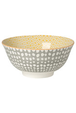 """6"""" Stamped Bowl - Gray Dots Yellow"""