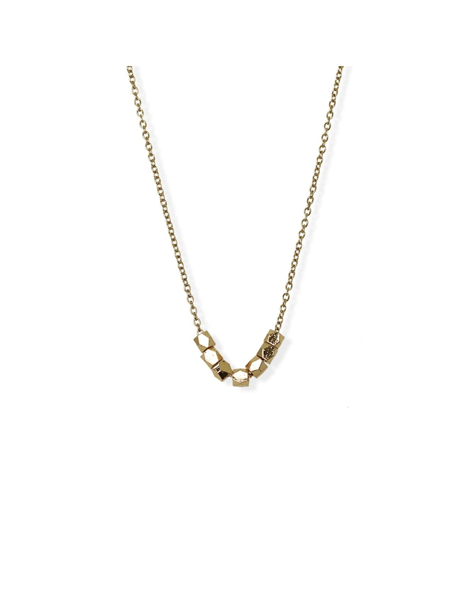 jj + rr  Faceted Bead Necklace Gold