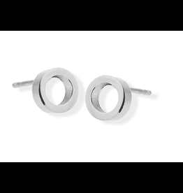jj + rr Open Circle Stud Earrings Silver