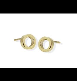 jj + rr Open Circle Stud Earrings Gold