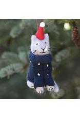Wool Kitty in Sweater /Hat Ornament