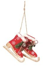 Red Wooden Skates w Bells Ornament