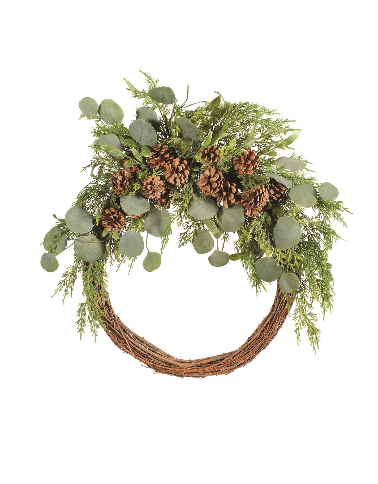 Vine Wreath with Evergreens and Cones