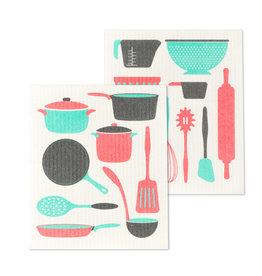 Set of 2 Dishcloths Utensils