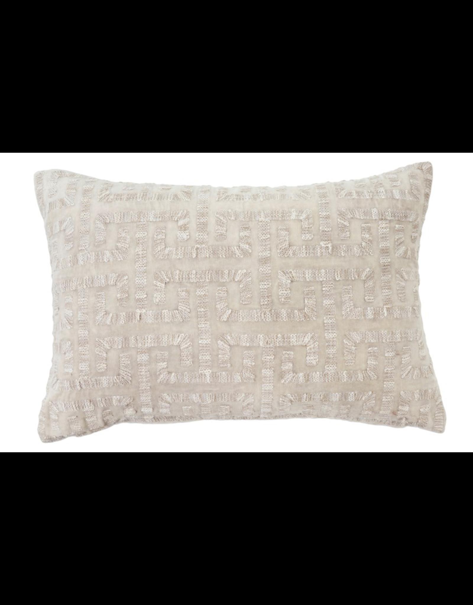 Liza Velvet Cushion 16x24 Ivory