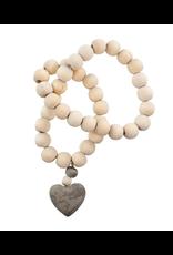Wooden Prayer Beads w Stone Heart