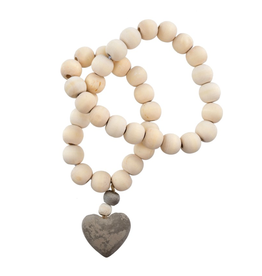 Wooden Prayer Beads w Stone Heart