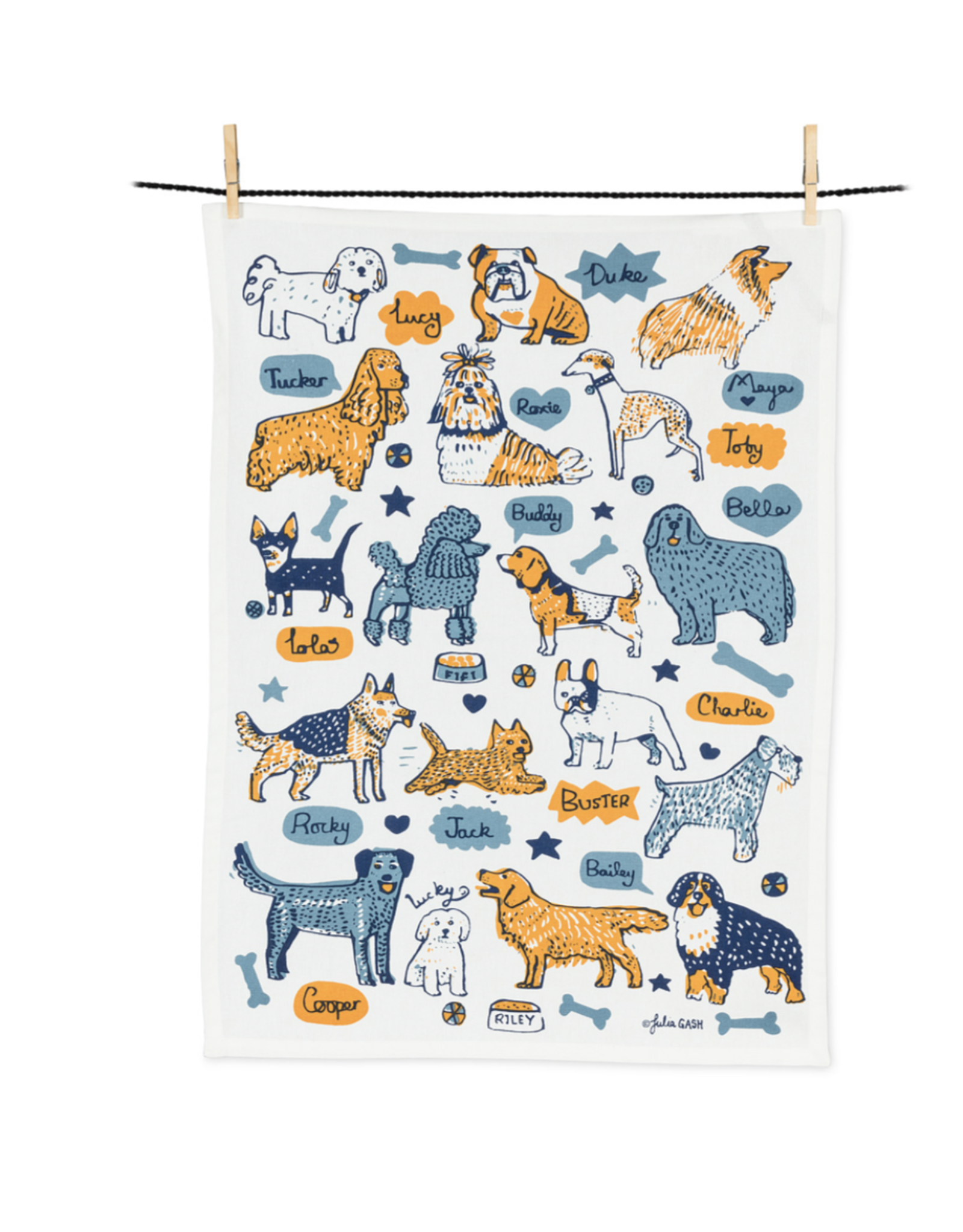 Dogs with Names Tea Towel